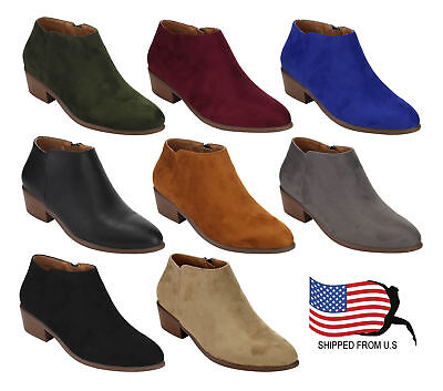 Women's western Booties Inside Zipper Stacked Heel Ankle Booties