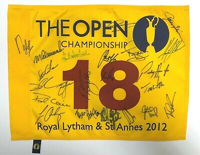 The Open Golf Flag Signed 24 Champions Winners Autograph AFTAL COA Greg NORMAN