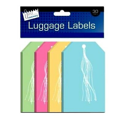 Pack Of 30 Large Coloured Paper Luggage Label Tags Tie On String Travel-WH3 -565