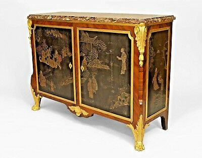 French Louis XV/XVI (19th Cent.) Transitional Style Tulipwood Marble Top Commode