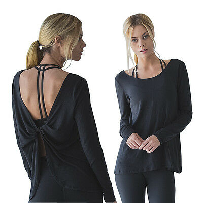 Womens Yoga Fitness Long-Sleeve Backless Sport T-Shirt Shift Back Twist Top