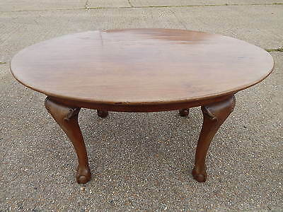 Antique solid walnut oval dining table with chunky carved legs ball & claw feet