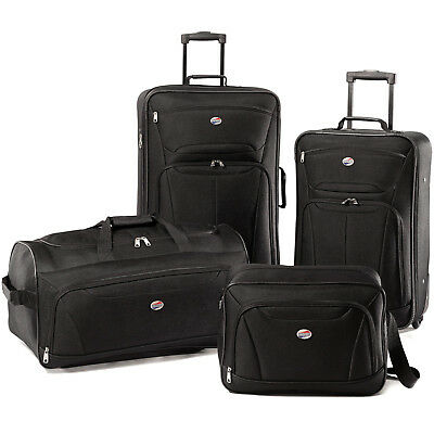 ORIGINAL American Tourister Fieldbrook Luggage Set 4pc Black Luggage Travel Gear