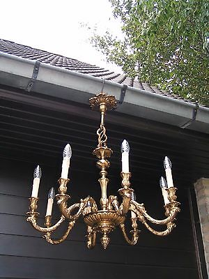&& Superbe and nice ornated  vintage French 8lt bronze  chandelier  && LOOK !
