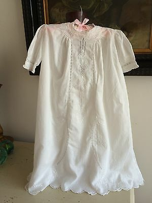 CHRISTENING GOWN DRESS ANTIQUE IRISH LAWN COTTON SILK EMBROIDERY LACE 6mth