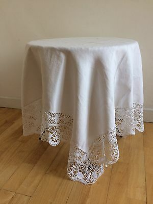 Antique 1800s Tablecloth Fine Linen  Rare Intricate Spanish Lace High Tea Cafe