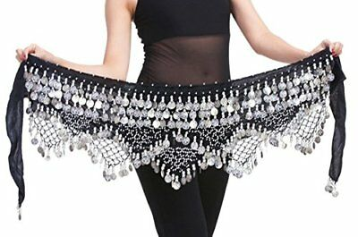 Women Belly Dance Wrap Gypsy Skirts with Coins Sequins Hip Scarf Black & Silver