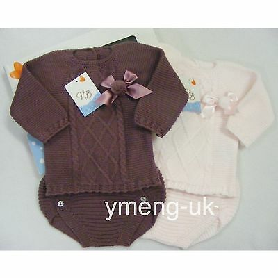 *New AW17* Gorgeous Baby Girl Spanish Knitted Pompom Top with Pants/Pink/Romany