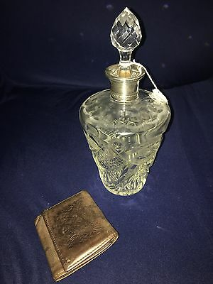Rare Antique Victorian Very Ornate , Sterling Silver and cut Crystal Decanter