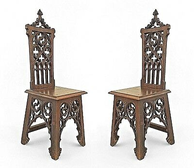 Pair of English Gothic Style (19/20th Cent.) Oak Side Chairs