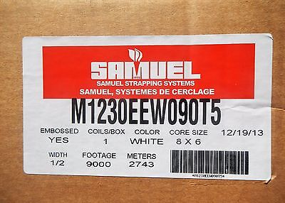 Samuel Polypropylene Strapping M1230EEW090T5 1/2 x 9000ft Emboss White 8x6 Core