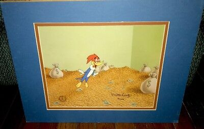 Woody Woodpecker Walter Lantz Signed Cel Money Bags Rare Animation Edition Cell