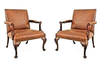 Pair of English Georgian (Queen Anne) Style (Modern) Carved Open Arm Chair
