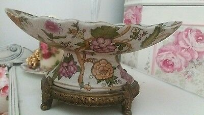 Vintage Large Chinese floral Golden Dish Stand