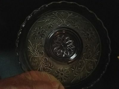 """Anchor Hocking Crystal Sandwich Glass 6 3/4"""" Scalloped Rim Cereal Bowl Htf"""