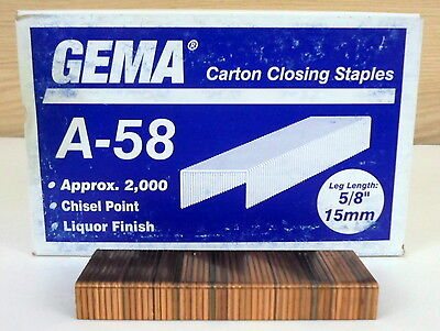 "GEMA A58 Carton Closing Staples Box of 2000 sz 1 3/8"" x 5/8"""