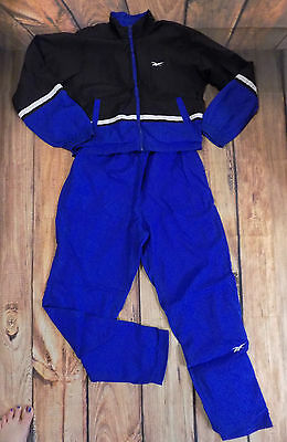 Reebok Vtg 80s 90s Blue Black Nylon 2-pc Jacket Pants Windbreaker Track Suit -M-