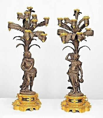 Pair of French Napoleon III Gilt and Patinated Bronze Ten-Light Candelabra