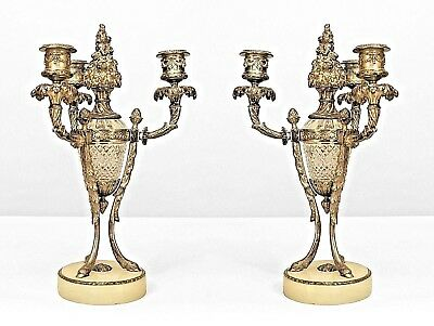Pair of French Victorian Style Silvered Bronze and Cut Glass Candelabra