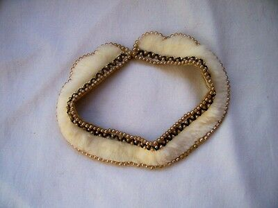 Vintage Faux Pearl Rabbit Fur Beaded Lined Collar