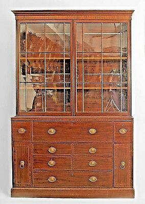 English Georgian (Late 18th Cent.) Mahogany Secretary Bookcase