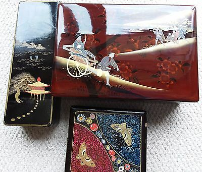 Three Vintage Japanese Lacquered Hinged Boxes
