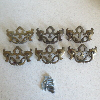 6 Smaller Vintage Chippendale Antique Brass Hardware Drop Handle Drawer Pulls
