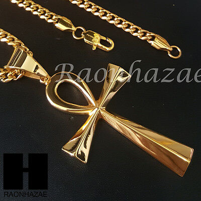316L Stainless steel Gold Silver Egyptian Ankh Cross Pendant Miami Cuban SS032