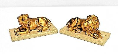 Pair of Italian Renaissance (Late 19th Cent.) Small Gilt Bronze Lions Bookends