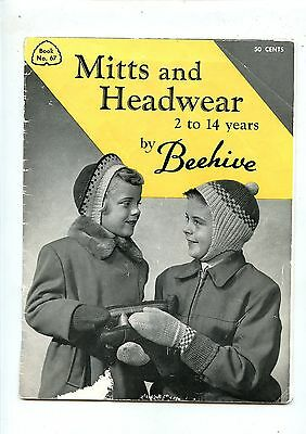 Old 1950's Beehive Knitting Booklet Mitts & Headwear