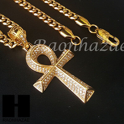 316L Stainless steel Gold Silver Egyptian Afro Ankh Pendant Miami Cuban SS038