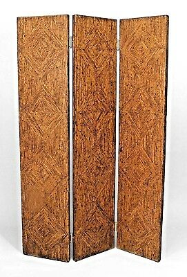 Pair of American Art Moderne (1940s) Rust Painted Faux Woven Rush 3 Fold Screens