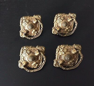 Vintage Late Victorian Style Brass Tone Drawer Furniture Pulls Ornate Set of 4