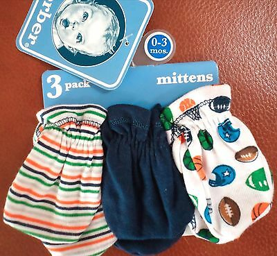 Gerber Baby Boys 3 Pack Mittens Sports Stripes Solid Navy/White/Multi 0-3 Mo