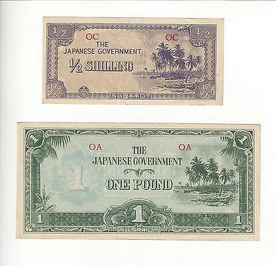 Japan Occupation Ww2 Oceania  1/2 Shilling & 1 Pound  Pair  Choice Unc