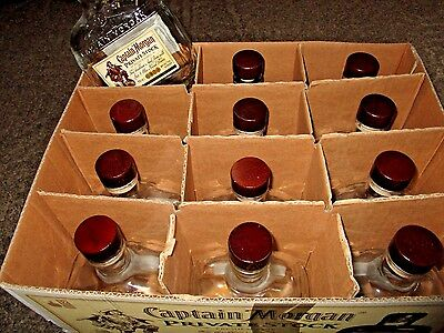 12 EMPTY 750 ML CAPTAIN MORGAN PRIVATE STOCK Glass Bottles PLASTIC CORK WOOD TOP
