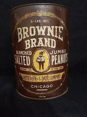 United Fig & Date Co. Chicago Jumbo brownie  brand Salted Peanuts Tin