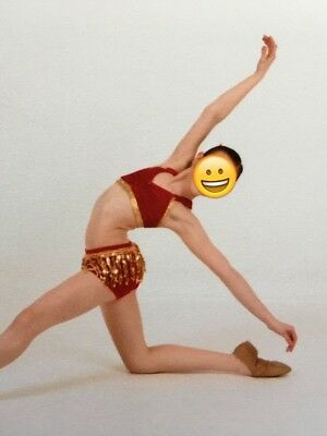 Custom Red and Gold Competition Dance Costume, Size Child XL (12/14)