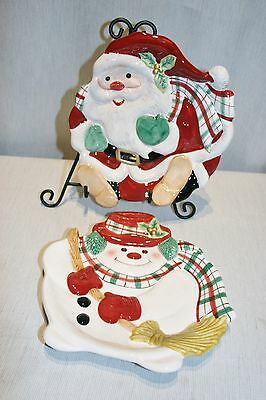 LOT of 2 Fitz & Floyd  Christmas Cookie Plates: Santa, and Snowman  MINT!