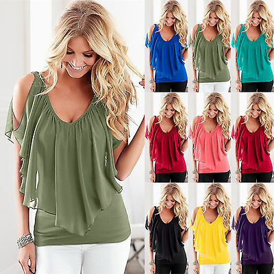 Women's V Neck Chiffon T-Shirt Ol Ladies Summer Casual Off Shoulder Blouse Tops