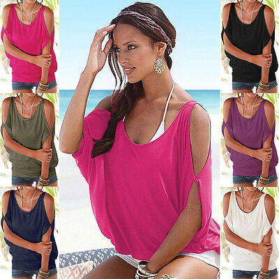 Womens Ladies Oversized Tops Baggy Batwing Sleeve Cold Shoulder Summer T Shirts
