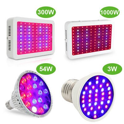 3W 54W 300W 1000W Watt LED plant Grow Light Kits Panel Lamp Hydroponics Veg Bulb