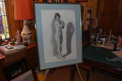 """Original large 1927 charcoal drawing """"Study of Female Nude"""" signed Lindstrom."""