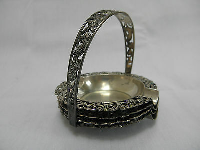 Vintage Silver Dutch Set of 4 Small Ashtrays with carrier handle