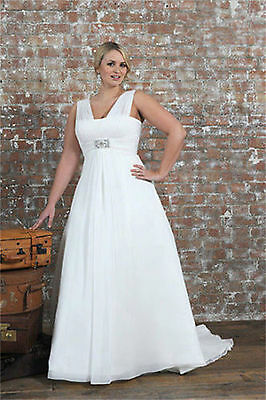 Chiffon Bridal Gown V Neck Wedding Dress Stock Plus Size 14 16 18 20 22 24 26