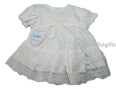 Baby Girls Traditional Lace Ivory Frilly Dress Newborn 0-12 Month