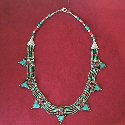 Handmade Necklace Tibetan Silver Turquoise Coral Tribal Fashion Women Jewellery