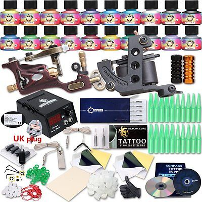 Professional Great tattoo Starter Tattoo Kit Machines 20 Color Inks Top CE Power