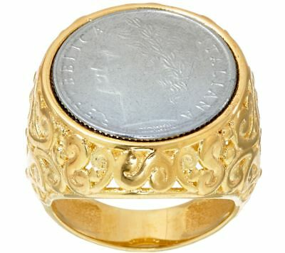 Bronzo Italia White 100 Lire Coin 14K Yellow Gold Over Scroll Ring Size 8