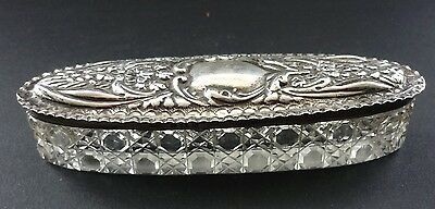 Antique 1907 English Hallmarked Silver And Glass Dressing Table Pot